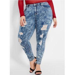 Ashley Stewart Ripped Acid Wash Skinny Jeans